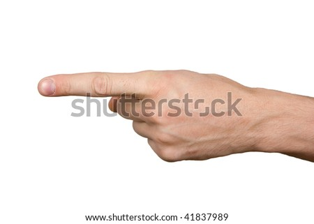 On the isolated background the hand shows a forefinger aside - stock photo