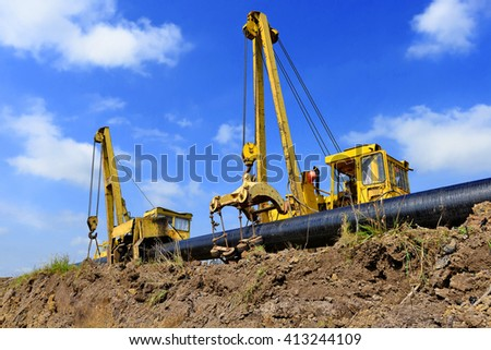 On the pipeline repairs - stock photo