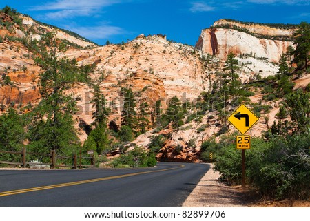 On the road in Zion National Park - stock photo