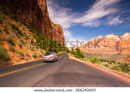 On the road in Zion National Park, USA - stock photo