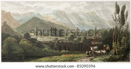 On the road to Falco, near Palermo, Sicily. Created by De Wint and Wallis, printed by McQueen, publ. in London, 1821. Ed. on Sicilian Scenery, Rodwell and Martins, London, 1823 - stock photo