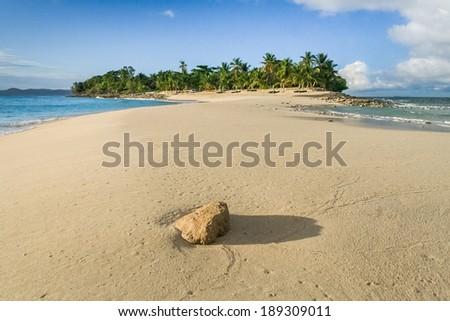 On the sandbank of Nosy Iranja, near Nosy Be, Madagascar - stock photo