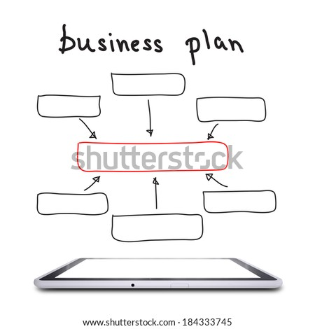 On the screen of the tablet is a block diagram of a business plan. Business concept