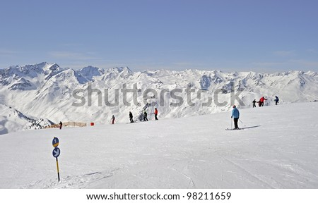 "On the ski piste at ""Axamer Lizum"" in Austria - stock photo"