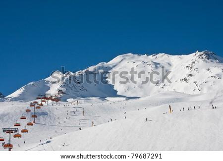 On the slopes of the ski resort of Solden. Austria - stock photo