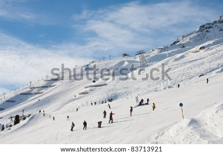 On the slopes of the ski resort of Solden. Austria - stock photo