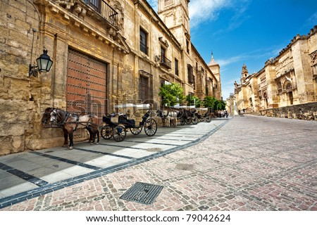 On the streets of old Cordova. Spain - stock photo