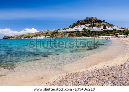 On the stunning beach at Lindos on the Greek Island of Rhodes