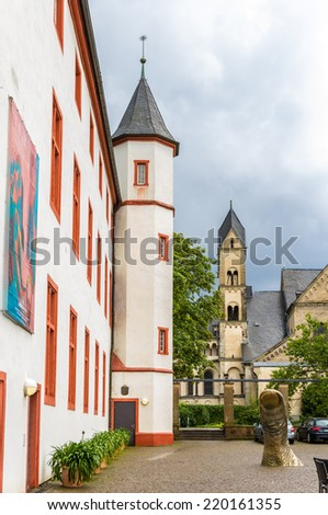 On the territory of Deutschherrenhaus in Koblenz, Germany - stock photo
