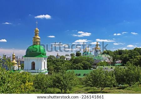 On the territory of famous Pechersk Lavra Monastery in Kyiv, Ukraine - stock photo