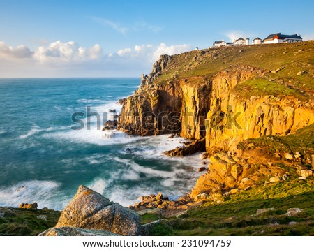 On the towering granite cliffs at Lands End Cornwall England UK Europe - stock photo