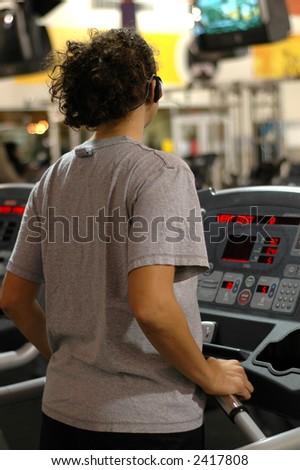 On the treadmill. - stock photo