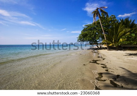 On the tropical beach. Siam bay. Province Trat. Koh Chang island. Kingdom Thailand