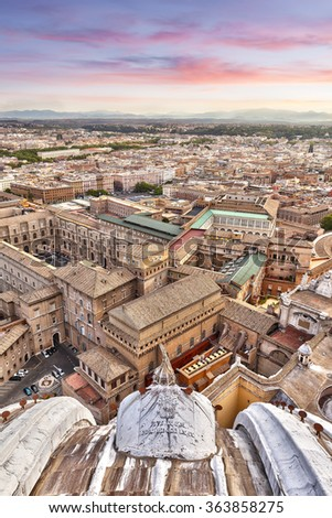 On the Vatican dome at sunrise in Rome - stock photo