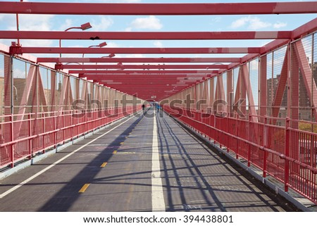 On the walkway of the Williamsburg Bridge in New York, NY, USA. - stock photo