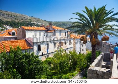 On the walls of Dubrovnik Old Town in Croatia, Europe - stock photo