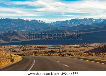 On the way to  Mammoth Lakes Hwy 395, California, US. - stock photo