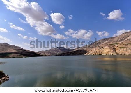 On the way to Wadi Mujib in Jordan - stock photo