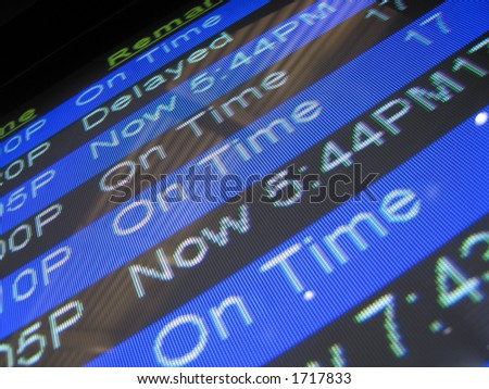 on time / delayed airport screen message