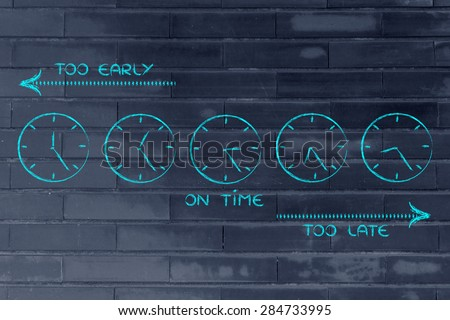 on time, too early and too late clocks: focusing on proper time management - stock photo
