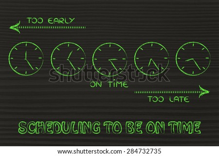 on time, too early and too late clocks: focusing on scheduling to be on time - stock photo