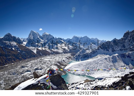 On top of Gokyo mountain at 15000ft near Everest summit in Nepal Himalayas