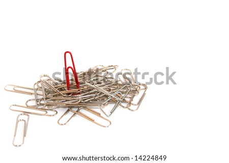 On Top Of The Competition Concept with paper clip pile.  Space for copy. - stock photo