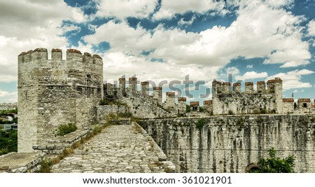On top of Yedikule Fortress (Castle of Seven Towers) in Istanbul, Turkey - stock photo