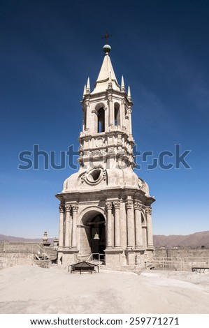 On top the Cathedral, iew of the Tower bell in Arequipa, Peru - stock photo