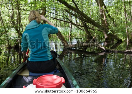 On tour with canoe - stock photo