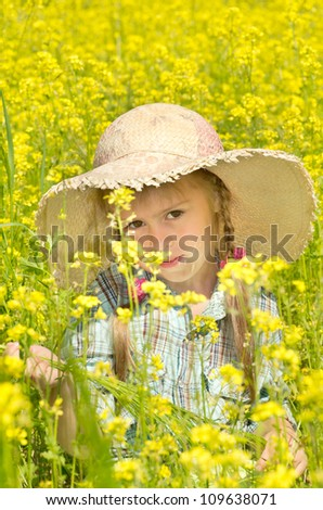 On walk in a blossoming field. - stock photo