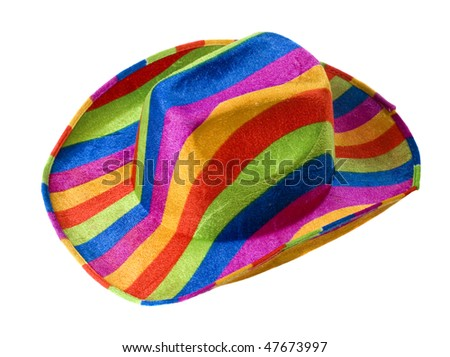 on white background bright colored striped hat