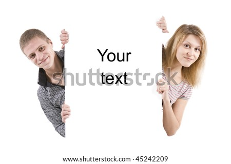 On white background happy young men and the white pure stand - stock photo