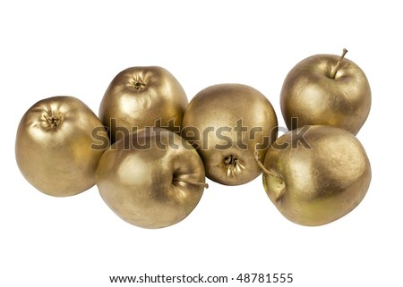 on white background isolated golden apples - stock photo