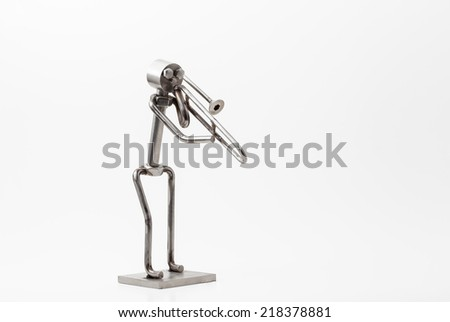 on white you have and stainless steel Jazz Trombone - stock photo