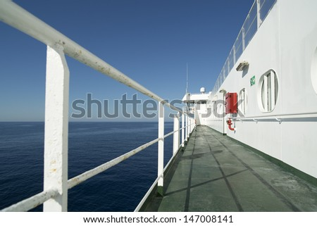 onboard ferry between ibiza and mallorca on a sunny day  - stock photo