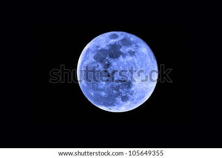 once in a blue moon with detailed moon - stock photo