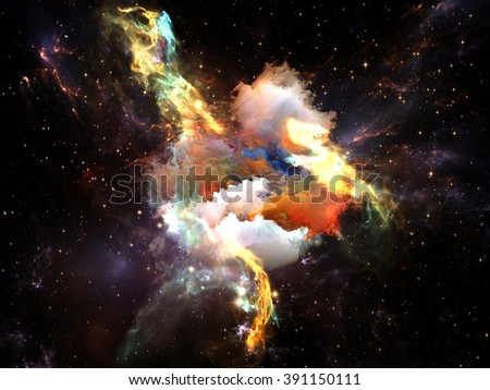 Once Upon a Space series. Backdrop composed of fractal clouds and suitable for use in the projects on Universe, cosmos, astronomy, science and education - stock photo