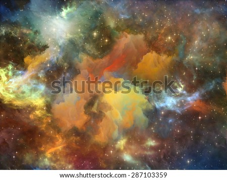 Once Upon a Space series. Backdrop of fractal clouds on the subject of Universe, cosmos, astronomy, science and education - stock photo