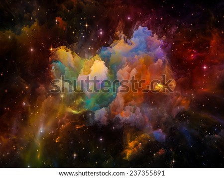 Once Upon a Space series. Background design of fractal clouds on the subject of Universe, cosmos, astronomy, science and education