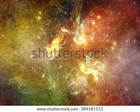Once Upon a Space series. Design composed of fractal clouds as a metaphor on the subject of Universe, cosmos, astronomy, science and education - stock photo