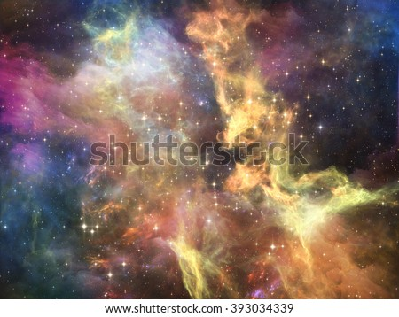 Once Upon a Space series. Graphic composition of fractal clouds to serve as complimentary design for subject of Universe, cosmos, astronomy, science and education