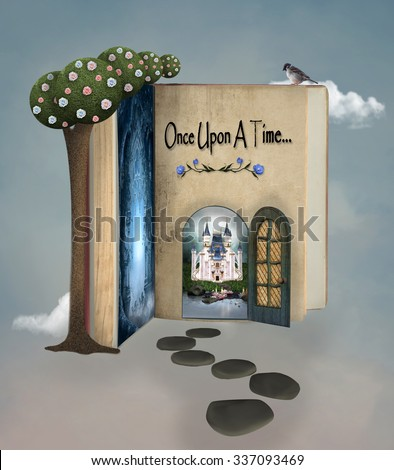 Once upon a time book - stock photo