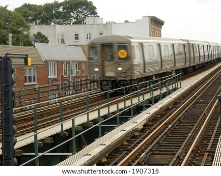 oncoming train - stock photo