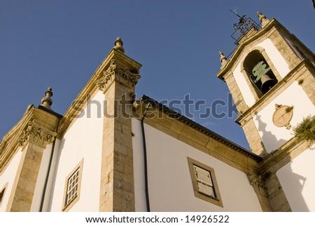 ond church over blue sky - stock photo