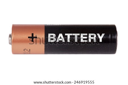 One AA  battery isolated on white background - stock photo