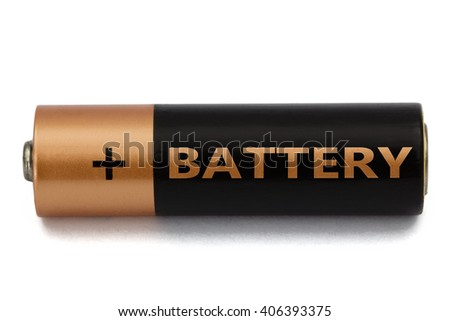 One AA battery isolated on white, with clipping path - stock photo