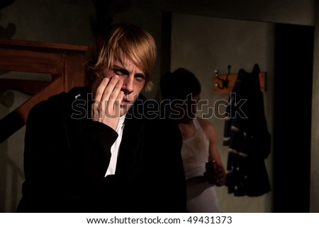 One abusive man terrorizing another - stock photo