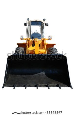 One actual new bulldozer from showcase isolated on white - stock photo