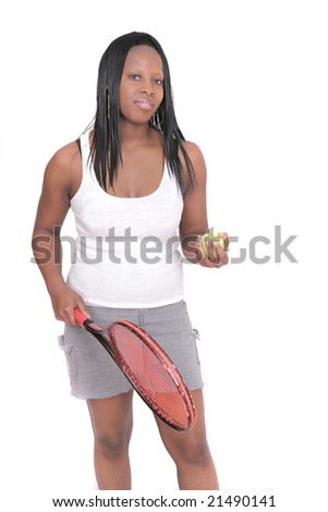 one African American woman in shorts playing tennis over white - stock photo